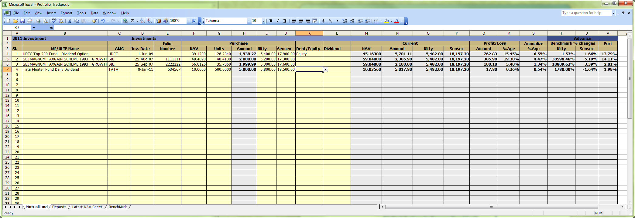 excel investment spreadsheet